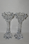 "MBA #70-7962   ""Set Of 2 Large Clear Crystal Fancy Candle Stick Holders"
