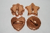 Older Set Of 4 Fancy Shaped & Ridged Copper Cookie Cutters