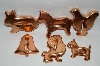 "MBA #70-79999  ""Older Set Of 6 Copper Animals & Bell Cookie Cutters"