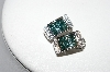 14K White Gold Teal & White Diamond Earrings