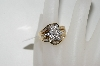 10K Yellow Gold Center Flower Diamond Ring