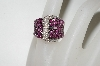 18K White Gold Designer Pink Sapphire  & Diamond Buckle Ring
