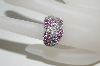 14K White Gold Diamond & Pink Sapphire 3 Flower Ring