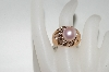14K Rose Gold Cultured Freshwater Pink Pearl & Diamond Ring