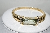 14K Yellow Gold Mint Green Quartz & Diamond Bangle