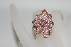 MBA #77-077    14K Two Tone Pink Sapphire & Diamond Flower Ring