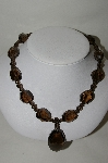"MBA #70-7966  ""14K Yellow Gold  Chuncky Smokey Quartz 19"" Necklace"