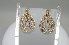 14K Tri Colored Gold Teardrop Shaped Diamond Earrings