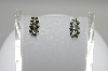 14K White Gold 3 Flower Green & White Diamond Earrings