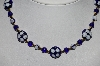 MBA #78-154   14K Gold Plated Italian Blue Floral Murano Glass Bead Necklace""