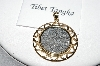 14k Yellow  Gold/Silver 200 Year Old Tibet Tangka Coin Pendant