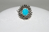 MBA #78-195   Sterling Oval Cut Blue Turquoise Ring