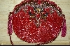 "MBA #HBMC   ""Hand Beaded Red Vintage Look Purse"
