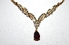14k Yellow Gold One Of A Kind Pear Cut Pink Tourmaline & Diamond Necklace
