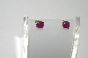 14k Yellow Gold Opaque Ruby Stud Earrings