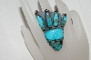 "**MBA #80-043  Sterling Artist Signed ""ER"" Blue Turquoise Animal Foot Ring"