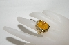 "MBA #81-142    ""14K Yellow Gold ""Tagliamonte"" Venetion Glass Hand Carved Ring"