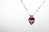 "14k Yellow Gold ""Pink Tourmaline Heart Cut"" Pendant With 18"" Gold Chain"