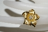 MBA #81-212     14K Yellow Gold Flower Ring With Diamonds