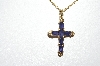 "14k Yellow Gold Purple Iolite Square Cut Gemstone Cross Pendant With 18"" Chain"