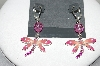 "**MBA #80-120  Designer Carol Dauplaise ""Silver Tone Pink Dragonfly Earrings"""