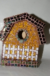 "One Of A Kind Hand Made ""Barn Style"" Glass Mosaic Bird House"