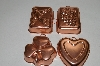 Set Of 4 Small Unlined Copper Jello Molds