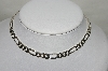 "**MBA #84-093  Sterling Thick Heavy 16"" Figaro Necklace"