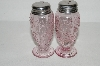 Set Of Fancy Pink Glass 2005 Salt & Pepper Shakers