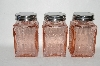 "MBA #89-198   "" Set Of 3 Vintage Reproduction Pink Glass Spice Jars"