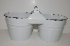 "**MBA #E47-160   ""White Enamel Double Bucket Condiment Holder"""
