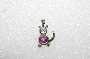 "MBA #S51-015   ""1980's Sterling February Cat Pendant"""