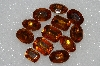 "MBA #S51-295   ""Vintage Lot Of 12 Citrine Colored Faceted Large Glass Rhinestones"""