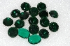 "MBA #S51-316   ""Vintage Lot Of 17 Large Emerald Green Glass Rhinestones"""