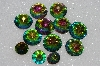 "MBA #S51-300   ""Vintage Lot Of 11 Large Rainbow Colored Glass Rhinestones"""