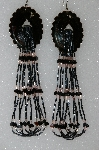"MBA #S51-412   ""Black Enameled Concho With Black Onyx Hearts & Pink & Gun Metal Bugle Beads"""