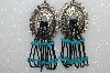 "MBA #S51-381   ""Antiqued Silvertone Concho With Peacock Blue Bugle Beads & Turquoise Earrings"""