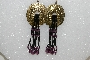 "MBA #S51-398   ""Goldtone Concho, Black Glass Beads & Purple Crystal Earrings"""