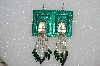 "MBA #S51-377   ""Concho Green Enamel Silver Bugle, Black & Green Glass Bead Earrings"""