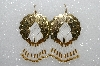 "MBA #S51-371   ""Concho, White Glass Seed beads, Fancy Gold Swirl Bugle Beads & Gold Plated Bead Earrings"""