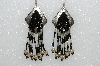 "MBA #S51-404  ""Concho, Black Glass Beads, Fancy Sliver Bugle Beads & Silver Plated Rose Bead Earrings"""