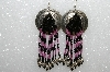 "MBA #S51- 386   ""Concho, Pink & Black Glass Bead & Silver Plated Rose Bead Earrings"""