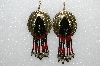 "MBA #S51-382   ""Concho, Black & Red Glass Beads & Silver Plated Rose Bead Earrings"""