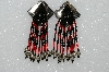 "MBA #S51-536   ""Concho Black & Red Glass Beads & Silver Plated Rose Bead Earrings"""