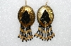 "MBA #S51-489   ""Goldtone Concho, Black & Gold Glass Beads & Gold Plated Rose Bead Earrings"""