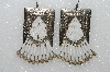 "MBA #S51-403   ""Concho White Glass Bead, Bugle Bead & Silver Plated Rose Bead Earrings"""