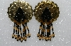 "MBA #S51-483   ""Round Gold Tone Concho, Black, Gold Bead & Gold Plated Rose Bead Earrings"""
