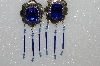 "MBA #S51-473   ""Concho Blue Rhinestone, Crystal Bead & Bugle Bead Earrings"""