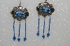 "MBA #S51-454   ""Concho, Blue Glass Rhinestone, Crystal Beads & Blue Lapis Earrings"""