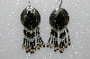 "MBA #S51-496   ""Concho, Black Bead, Fancy Swirl Silver Bugle Beads & Silver Plated Rose Beads"""
